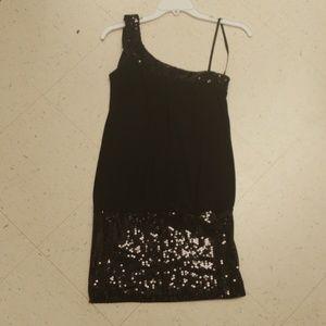❤ DEB one shoulder mini dress w/ sequins, size S